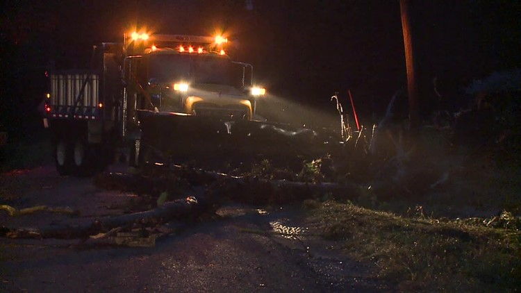 Flash flooding downs trees, closes road in Sullivan County
