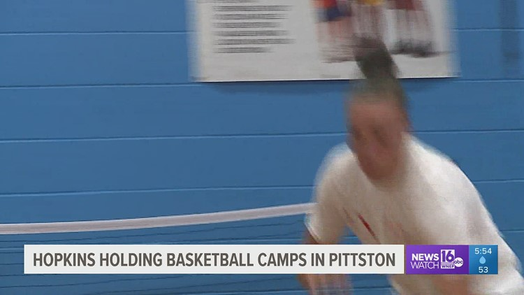 Former Pittston Area basketball star Mia Hopkins is hosting basketball camps back home before resuming her professional hoops career.