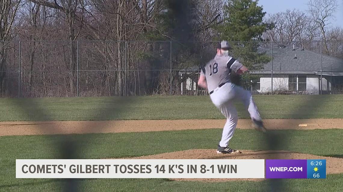 Lefty Scott Gilbert strikes out 14 in 5 innings in an 8-1 over Scranton Prep in HS baseball.