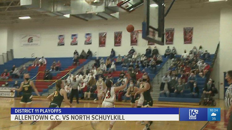 Allentown C.C. and North Schuylkill met in the D11 girls basketball semifinals.