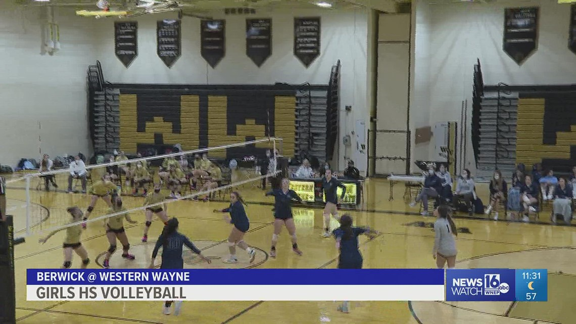 In a tight match, Berwick defeated Western Wayne in straight sets in girls HS Volleyball.