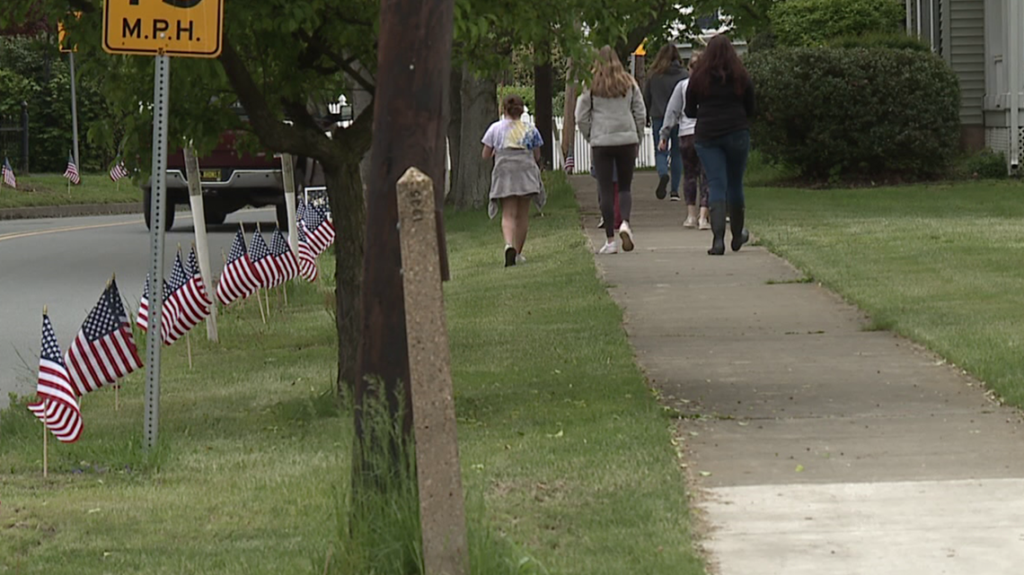 Flags displayed in Tunkhannock ahead of Vietnam Memorial arrival