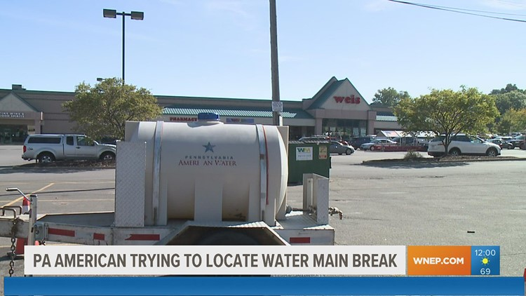 Pennsylvania American Water trying to locate water main break in Luzerne County
