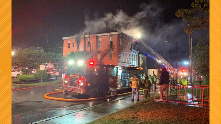 Flames damage apartment building in Danville