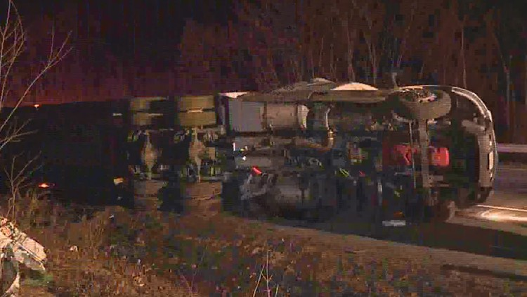 Big rig rollover on Interstate 81 in Luzerne County