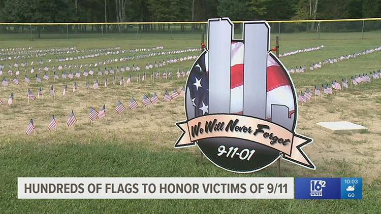 Hundreds of flags to honor those lost 20 years ago