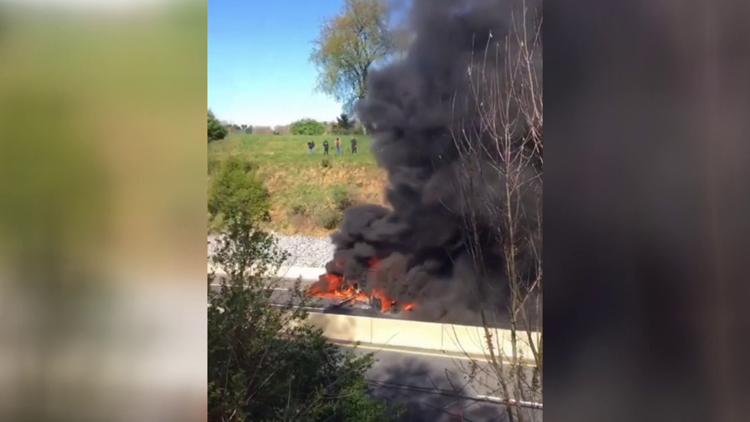 Diesel spill, truck fire ties up turnpike