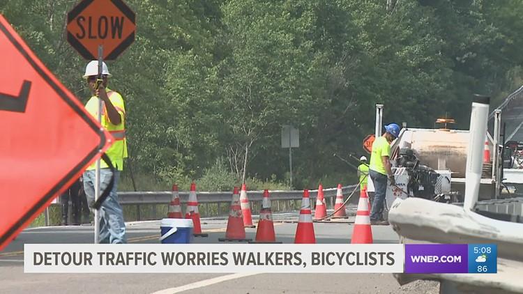 Detour traffic in Luzerne County worries walkers