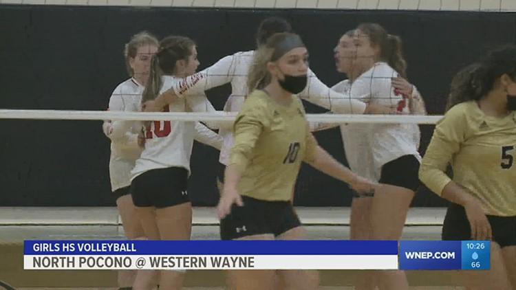 Western Wayne defeats stubborn North Pocono in straight sets in girls HS volleyball.