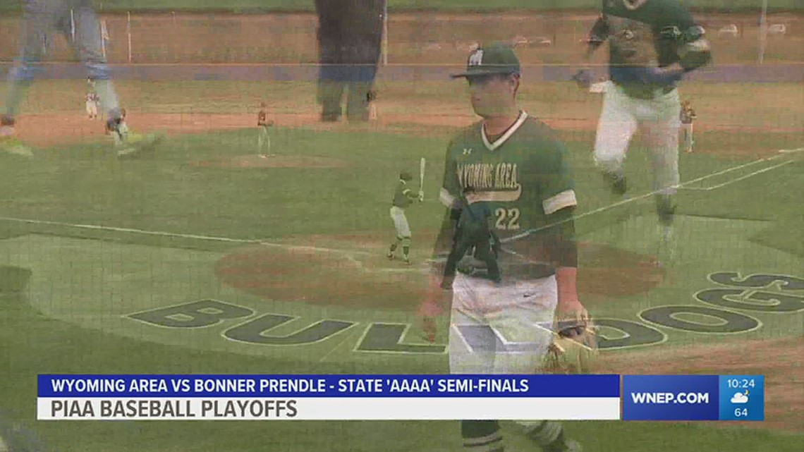 Wyoming Area scored four runs in the B-7th, with two outs, to beat Bonner Prendle 5-4 in the 'AAAA' baseball semi-finals.