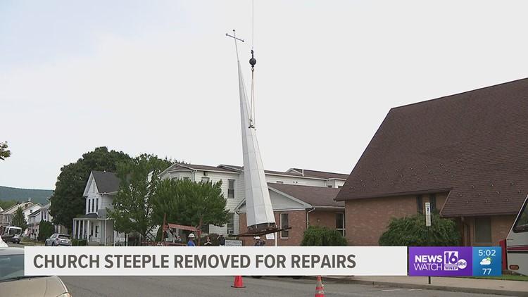 Leaky steeple pulled down for repairs
