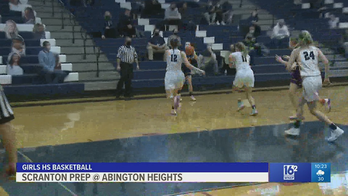 Scranton Prep played Abington Heights in boys and girls HS basketball.  Prep prevailed in each game.