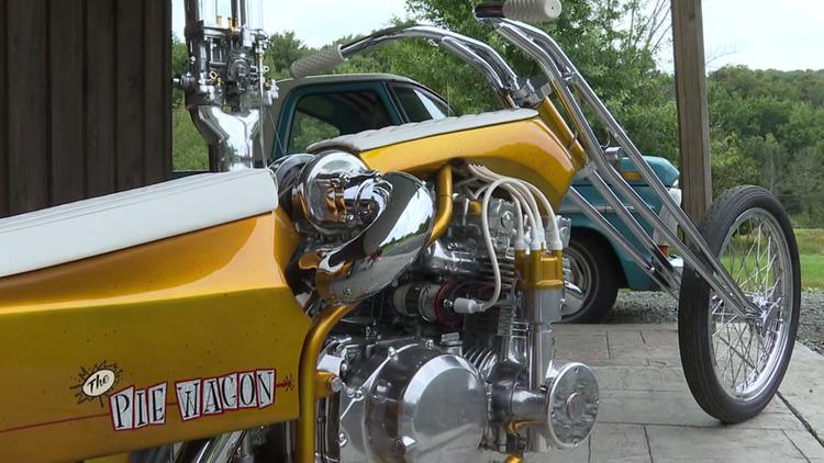 'Pie Wagon' custom motorcycle delivers unique concept