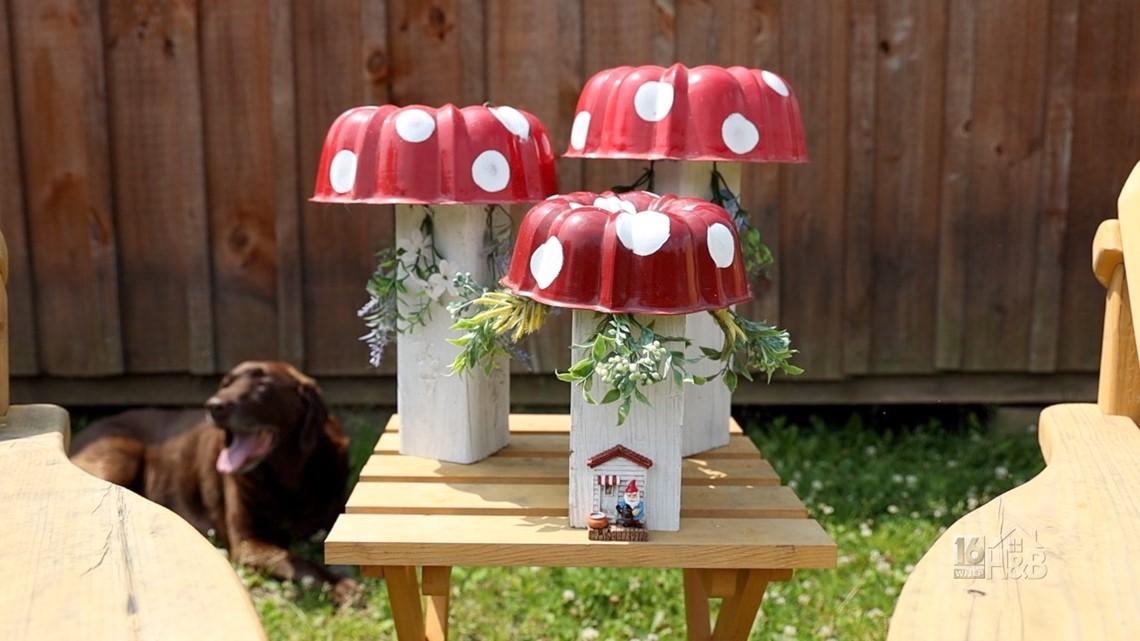Craft A Cute Red & White Garden Mushroom Using a Bundt Pan