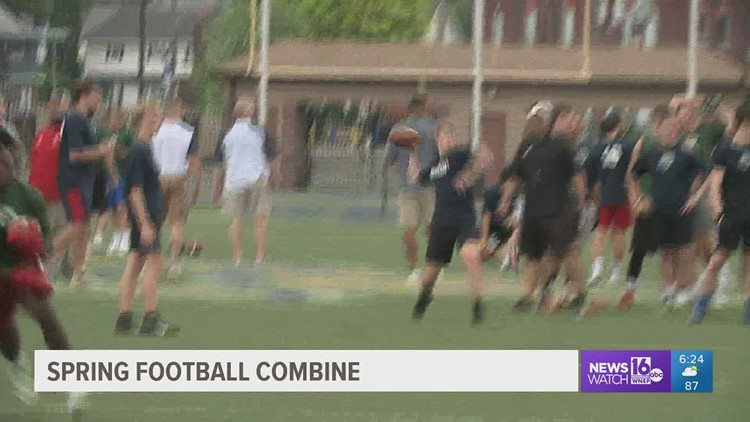 100 High-School Players Come To The Football Combine At John Henzes Veterans Memorial Stadium