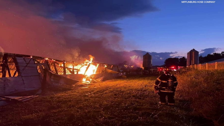 Barn destroyed by fire in Union County
