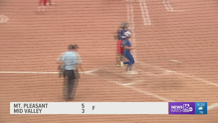 Mid Valley held a 2-0 lead, but Mt. Pleasant rallied to win the 'AAA' HS State softball Championship by a 5-3 score.