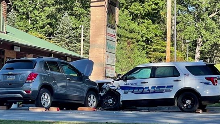 Police vehicle damaged in Pike County crash