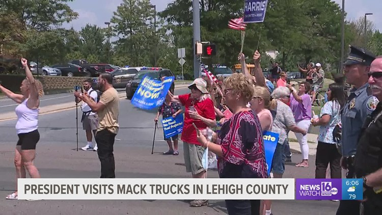 President visits Pennsylvania Mack Truck facility