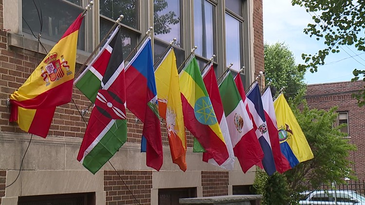 School's flags honor heritage of diverse student population