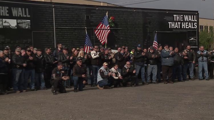 Hundreds escort the replica of the Vietnam Veterans Memorial to the Tunkhannock Area School District