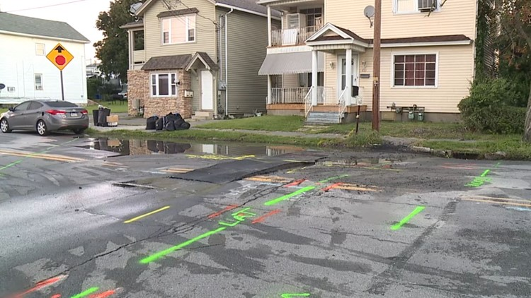 Part of road closed due to water main break in Scranton