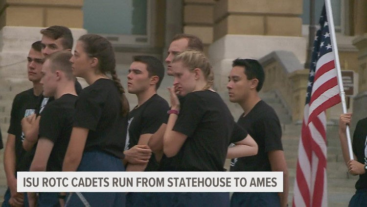 ISU ROTC cadets carry POW-MIA flags on run from Ames to state capitol