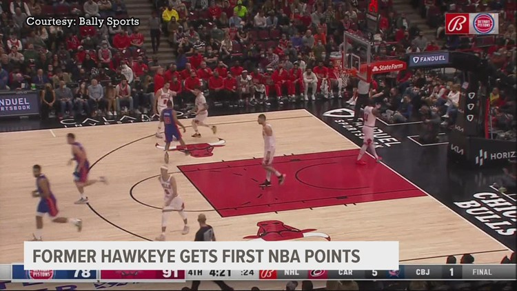 Former Hawkeye star Luka Garza scores his first points as an NBA player with the Detroit Pistons