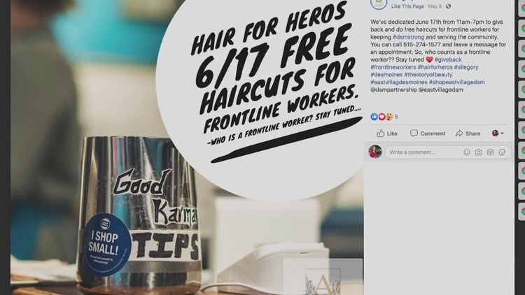 Des Moines salon giving free hair appointments to essential workers once they reopen