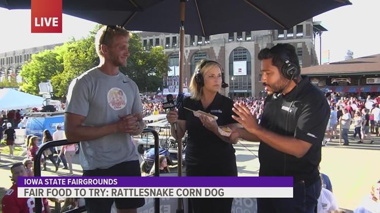 Rattlesnake corn dog at the Iowa State Fair