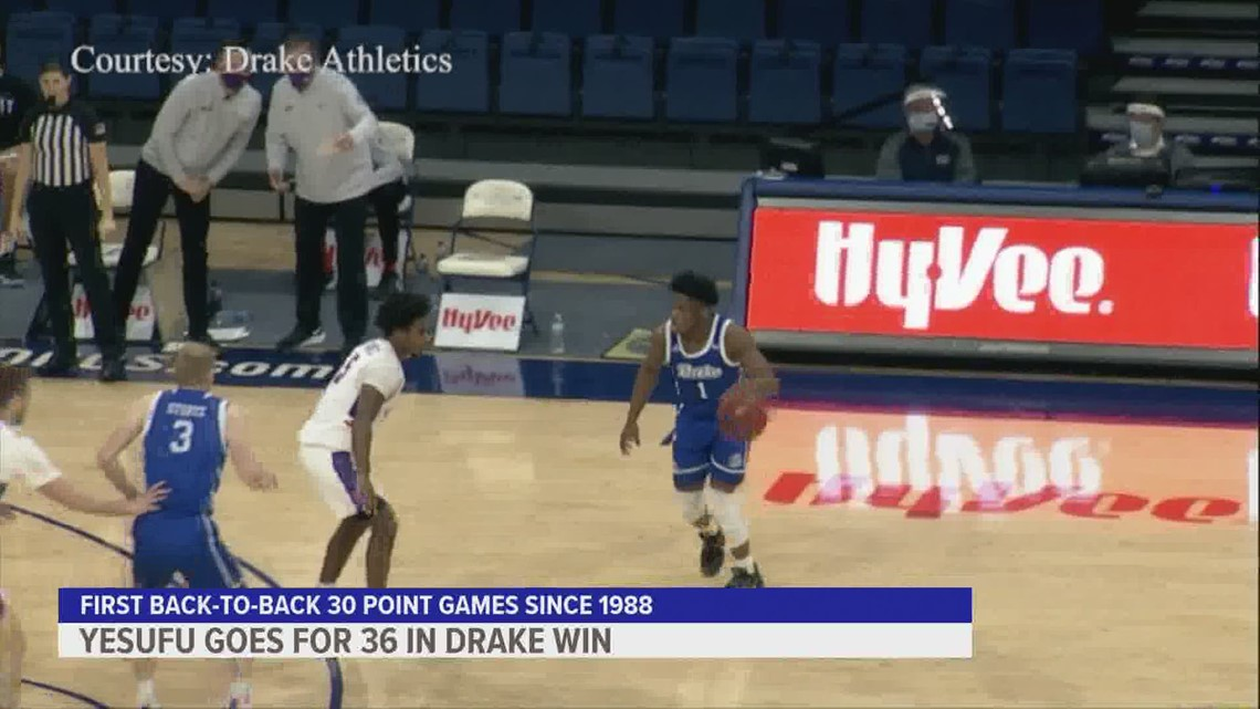 Joseph Yesufu leads drake past Evansville, Roman Penn out for the year