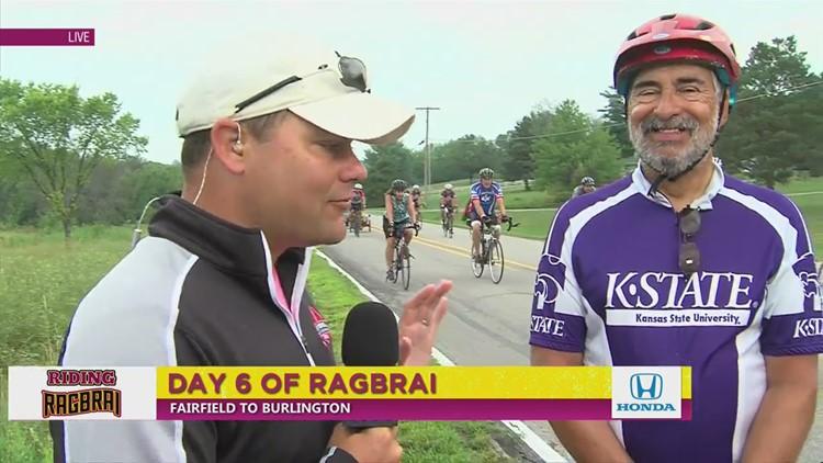 Elias rides RAGBRAI Day 6: College Jersey Day