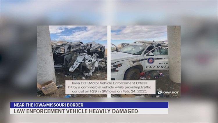Tense moments after Iowa DOT motor vehicle enforcement SUV is damaged