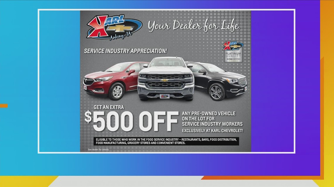 Major savings on new Chevrolet & Buicks and an extra $500 OFF pre-owned vehicles for Food Service Industry Workers at Karl Chevrolet!