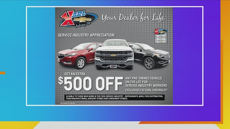 Amazing Savings at all Karl Chevrolet locations plus additional discount on pre-owned vehicles for Food Service Industry Employees!