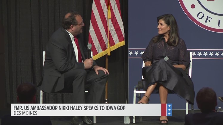 Former ambassador Nikki Haley praises Gov. Reynolds, criticizes President Biden at Iowa GOP event