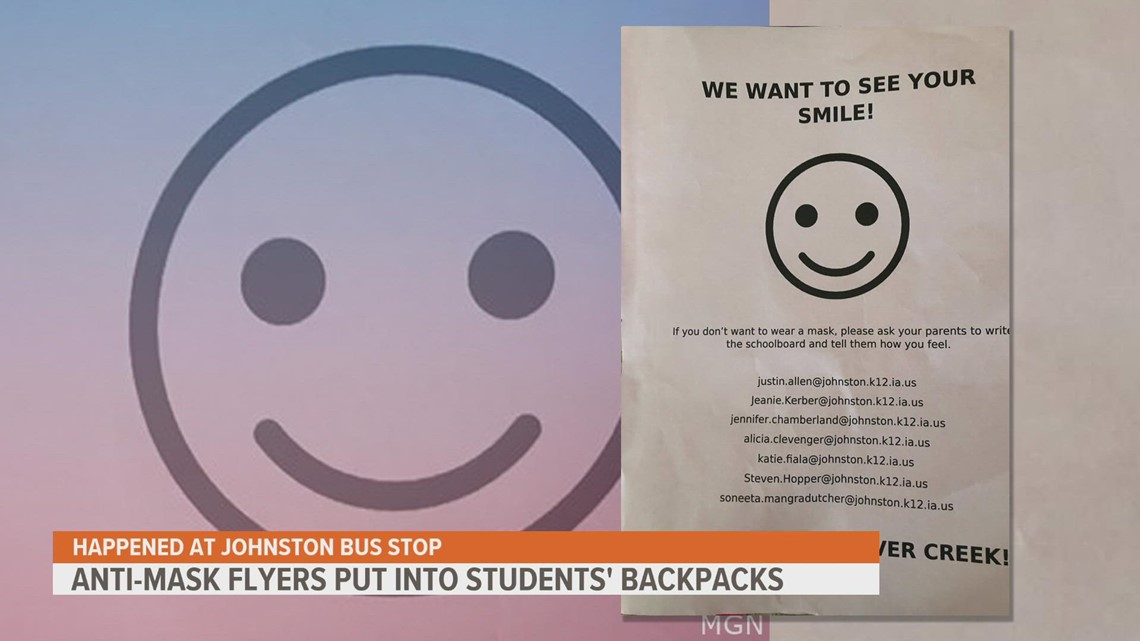 Anti-mask flyers distributed to Johnston elementary students at bus stop