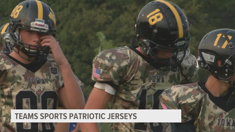 Winterset High School football sports new jerseys to honor lives lost in 9/11, Afghanistan
