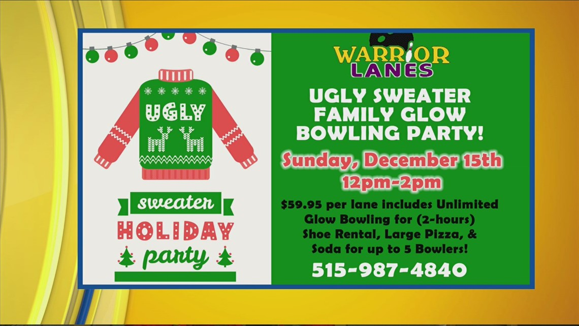 Warrior Lanes' Ugly Sweater Family Glow Bowling Party