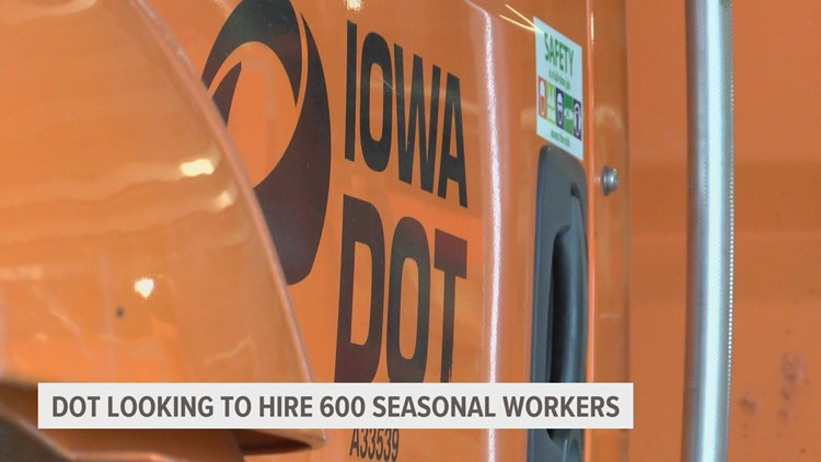 Iowa DOT looking to hire 600 seasonal workers in preparation for winter weather