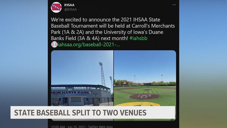 State baseball tournament moving to Carroll and Iowa City for 2021