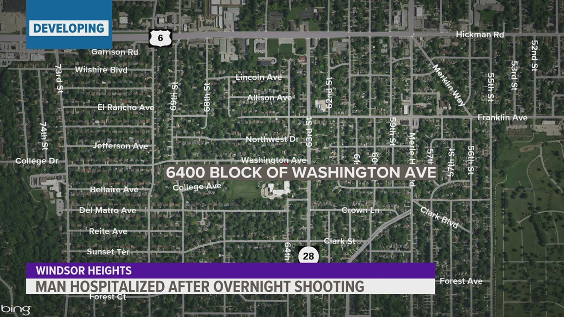 Man hospitalized after shooting in Windsor Heights
