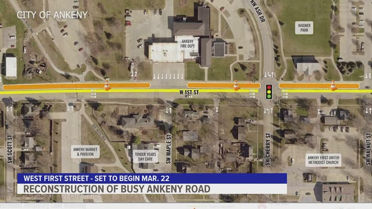 West 1st Street construction to begin March 22 in Ankeny