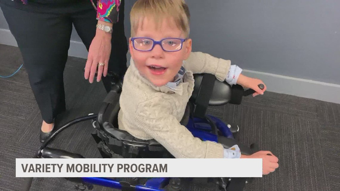 A young man named Charlie is showing off the success of the Variety Mobility Program