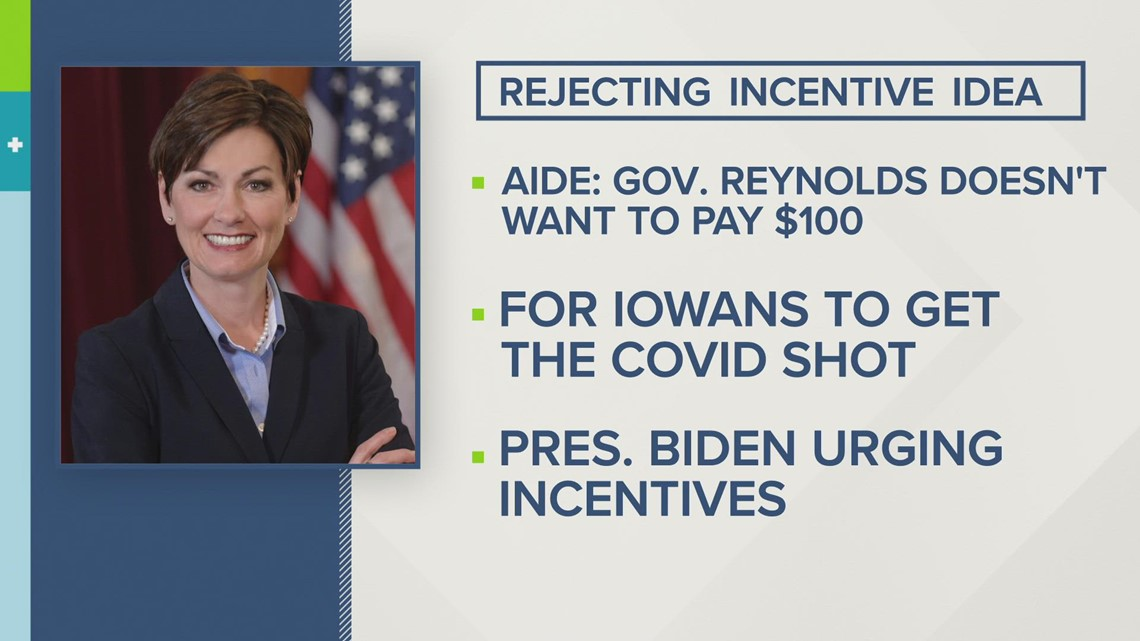 Reynolds rejects Biden's call for $100 vaccine incentives