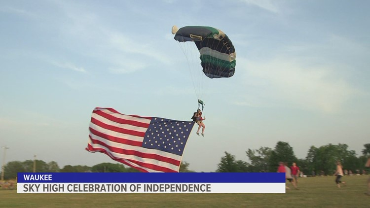 Jumping from 6,000 feet, Des Moines Skydivers celebrate Independence Day in Waukee