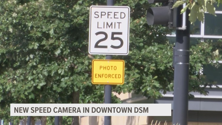 Why is there a new speed camera along Grand Avenue in Des Moines?