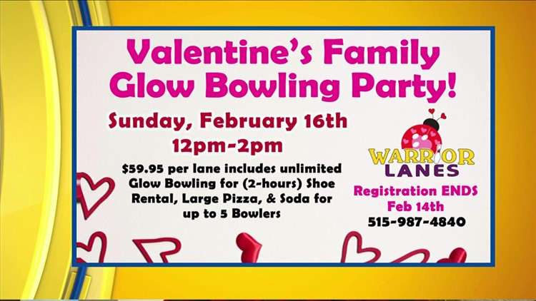 Valentine family glow party at Warrior Lanes