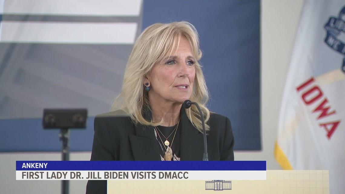 First Lady Jill Biden speaks at Ankeny DMACC campus