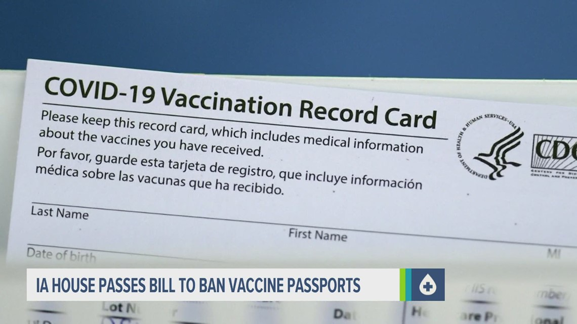 Bill banning vaccine passports approved by Iowa House, heads to Senate